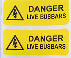 Electrical Safety Warning Labels - LIVE BUSBARS Labels - Yellow 50mm x 20mm