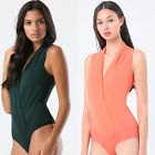 New Women's Wrap Front V neckline Sleeveless Bodysuit Body Bodice Top Tee Tank