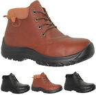 NEW MENS LIGHTWEIGHT LEATHER SAFETY STEEL TOE CAP WORK BOOTS HIKER SHOES SZ