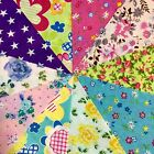 10 Bright Bold patchwork polycotton squares Fabric Remnants 12cm (VF537)