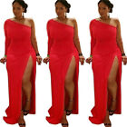 Womens One Sleeve Side Slit Cocktail Evening Party Plus Size Maxi Long Dress