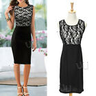 Womens Sexy Sleeveless Lace Slim Bodycon Cocktail Party Evening Dress Black
