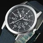 Men's Sport Quartz Watches Analog Stainless Steel Military Canvas Band Watch Hot