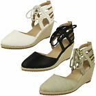 Ladies Anne Michelle Ankle Lace-Up Rope Edge Wedge Sandals