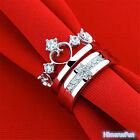 Queen Crown Cross Silver Couple Rings Wedding Band His and Her Promise Ring