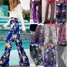 Women's Floral Casual Wide Leg Long Stretch Pants Bohemian Coming Loose Trousers