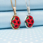 Poppy Cluster Pendant Necklace  flower jewellery Hand-painted in Wales,UK