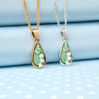 LILY of the VALLEY tear-drop PENDANT necklace hand-painted in Wales,UK