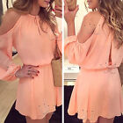 Sexy Women Long Sleeve Casual Evening Party Cocktail Summer Pink Mini Dress NEW