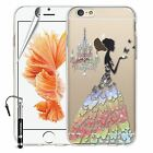 Madcase Cute Designs Clear Silicone Gel Case with Crystals for Apple iPhone 6 6S