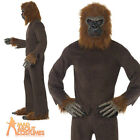 Adult Ape Costume Mens Gorilla Animal Zoo Jungle Fancy Dress Outfit New