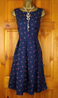 NEW SEASALT BLUE DITSY FLORAL VINTAGE  STYLE SUMMER COTTON TEA DRESS UK 8-20