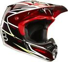 Fox MX V3 Helmet RACE RED Kevlar Composite Motocross Offroad Enduro