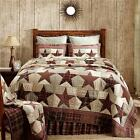 4PC ABILENE STAR BROWN RUSTIC TAN QUILT-PILLOW CASES-PILLOW-BED SET VHC BRANDS