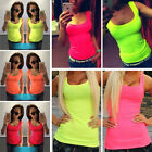 Sexy Femme Gilet Blouse Fluorescence Casual Tops T-Shirt Sans Manche Chemisier