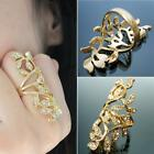 New Fashion Women's Plated Crystal Leaf Above Knuckle Finger Ring Set