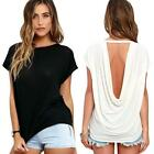 2016 Sexy Women Summer Loose Batwing Sleeve Backless Blouse Casual Tops T-Shirt