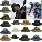 Mens Military Bucket Sun Hat Boonie Hunting Fishing Outdoor Camouflag Canvas Cap