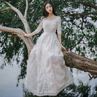 Vintage Palace Woman Sweet Lolita White Lace Princess Style Dress Wedding #L-67