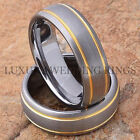 Tungsten Rings Wedding Bands Set 14K Gold Accent Titanium Color Matte Size 6-13