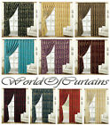 Jacquard Pencil Pleat Curtains Ready Made Fully Lined Curtains With tie Backs