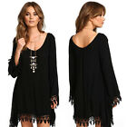 New Women Girl Casual Loose Long Sleeve Black Cocktail Evening Party Mini Dress