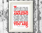 Bruno Mars Just The Way You Are Song Lyric Poster Design Typography Print Only