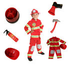 Firefighter Costume Kids Light up badge & Hat Fire man chief Size S M 4 5 6 7 8