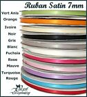LOT 2M RUBAN SATIN 7mm NOIR BLANC IVOIRE ROSE ORANGE VERT BLEU MAUVE ROUGE GRIS