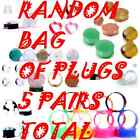 5 RANDOM PAIRS OF EAR PLUGS / EAR GAUGES-MIXED STYLE-CHOOSE SIZE-10 PIECES TOTAL