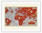 Planisphere World Route Map Vintage Airline Travel Art Poster Print Giclée