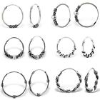 925 Sterling Silver Bali Hoop Sleeper Earrings Hoops 10-30mm MultiPack Gift Bag