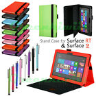 Premium Windows Surface RT Surface 2 Stand Case PU Leather Folio Cover with Pen