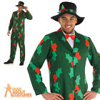 Adult Christmas Gentleman Suit Holly Costume Mens Fancy Dress Outfit New
