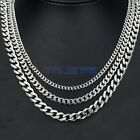 3.5/5/7 mm Mens Chain Silver Tone Stainless Steel Curb Link Necklace 18-30\'\'