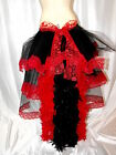 Feather & Lace Tail Bustle Belt 6-26 Burlesque Bustle Belt White Black & Red