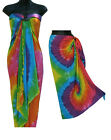 Rainbow Tie-Dye Sarong Multi-Color-NEW-Beach Cover-Up