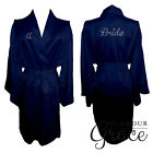 Navy Blue Bridal Bride Bridesmaid Wedding Robe Dressing Gown Satin Personalised