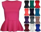 New Womens Sleeveless Flared Peplum Vest Top Ladies Fitted Bodice Tops Size 8-14