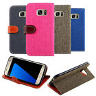 For Samsung Galaxy S7 EDGE Hybrid Canvas Wallet With ID Window Stand Case Cover