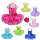 Girls Ballet Tutu Sleeveless 2-8Y Kid Gymnastic Leotard Sequin Party Dance Dress
