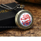 Bronze Antique Vintage Red Dragon Chinese Loong Pocket Watches Necklace Chain