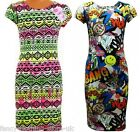 Bodycon Midi Dress Neon Aztec Graffic Comic Printed cartoon Fashion Tags