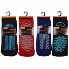 4 Mens Thermal NON-SKID Rubber Sole SLIPPER Socks UK 7-11