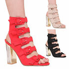 LADIES WOMENS BUCKLE HIGH HEEL SUMMER FASHION STYLE PARTY CASUAL FORMAL SHOES
