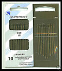 10 DARNERS HAND SEWING NEEDLES size 1/5 by Whitecroft