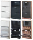 3 Tier Shoe Cabinet Cupboard Storage Rack Unit-White Black with Back Cover