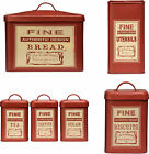 Tea Coffee Sugar Biscuit Bread Bin Utensil Canisters Red Colour Metal Made