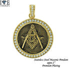STAINLESS STEEL MASONIC WITH CLEAR STONES PENDANT W/ ROLO BOX CHAIN STP # 1314