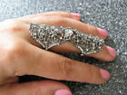 Full Finger Gunmetal Grey Filigree Silver Armour Cage Hinged LACE CRYSTAL RING